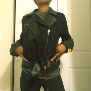 BlankNyc Blue black vegan leather mix moto jacket